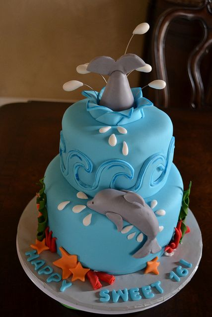 Sweet 16 Dolphin Lover Cake by Lily's cakes, via Flickr