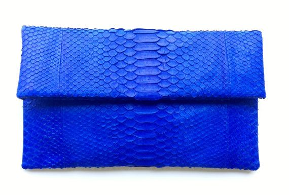 Electric Blue Envelope Python Snakeskin by OngoingLoveAffair, $115.00