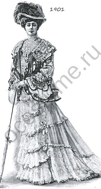 """Нарядное платье дамы из кружева """"Алансон"""". Жакет с оборками. 1901 год"""