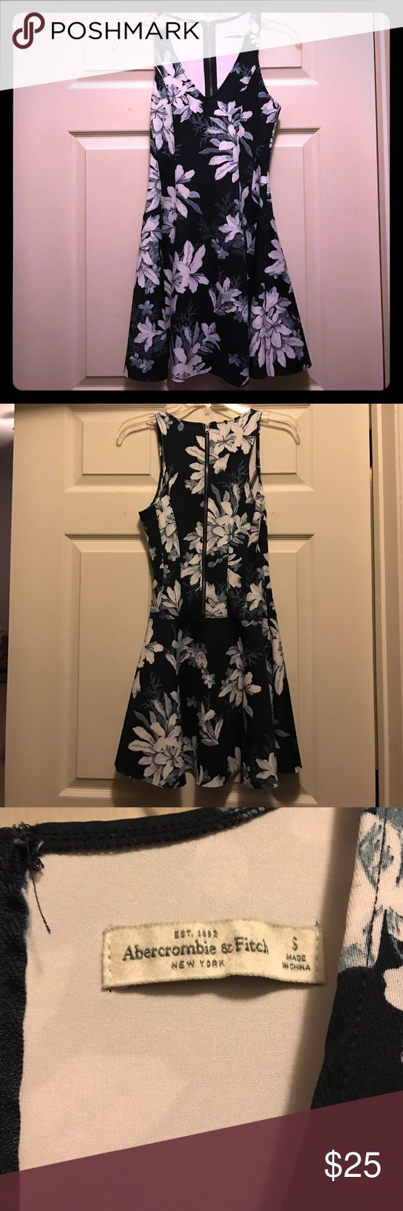 Navy Blue Floral Skater Dress Abercrombie & Fitch Navy Blue Floral Skater Dress. Worn once so it is in like new condition! Abercrombie & Fitch Dresses