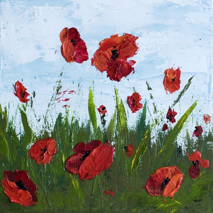 How To Paint Poppy Flowers with Acrylic Paint and a Palette Knife, Simple Step-By-Step Tutorial.   Melissa McKinnon: Artist