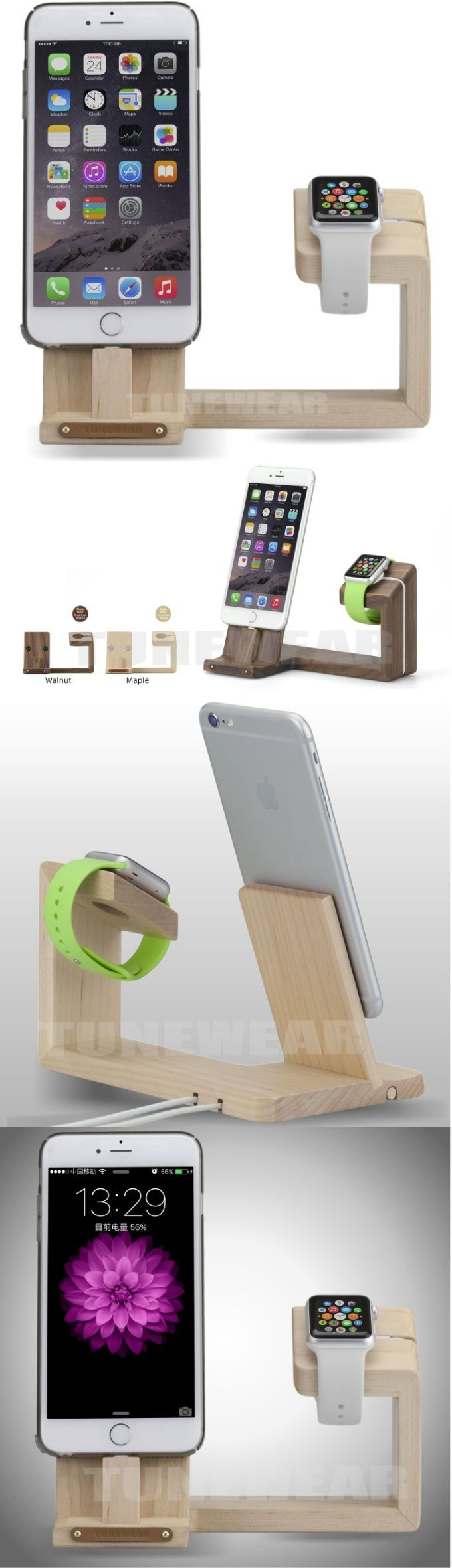 Bamboo Wooden Apple Watch Charging Stand Charging Docks Holder iPhone Charging Stand Docks for Apple Watch Series 3/2/1/ AirPods/ iPhone X/8/8Plus/7/7 Plus /6S /6S Plus/ iPad #iphoneairpods,
