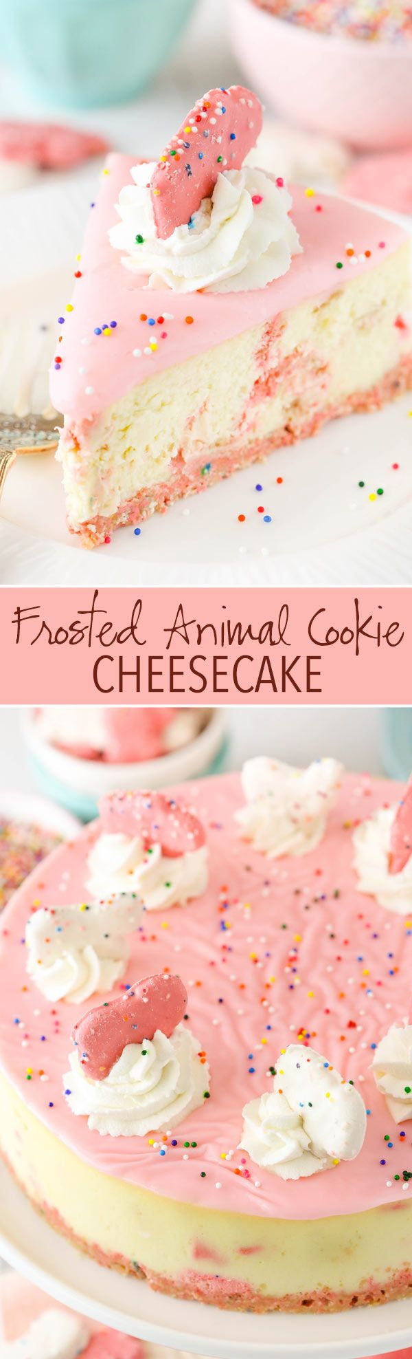 Frosted Animal Cookie Cheesecake Recipe - thick and cream vanilla cheesecake with frosted animal cookies in the crust and the filling! So good!