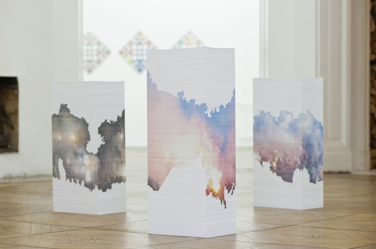 Aleksandra Domanovic -   untitled (30.III.2010), 2010  printable monuments to the abolished .yu domain  3 x 7.500 page paper-stack sculpture, A4 inkjet