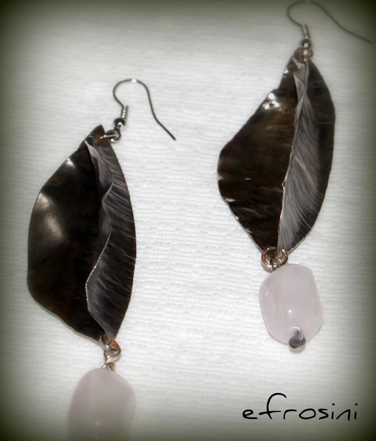 Handmade Metalwork Fold Forming Earrings Agate