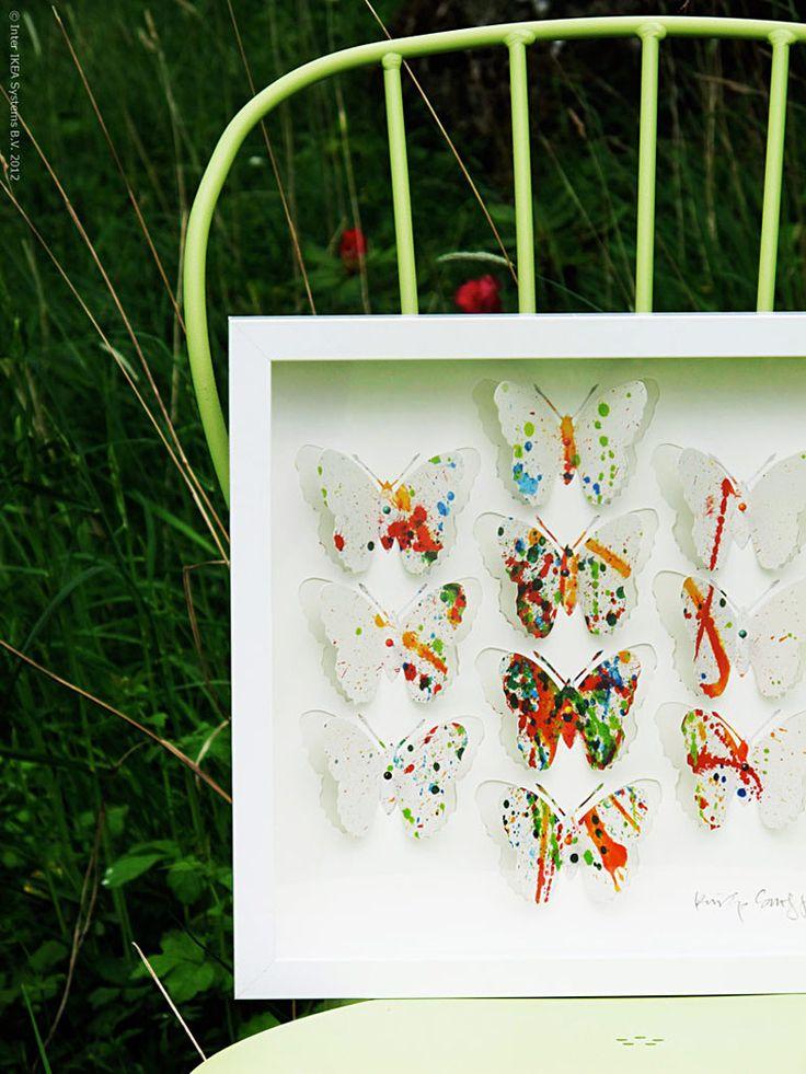 Vernissage i det gröna   Livet Hemma – IKEA OLUNDA salpicaduras de pintura 149 SEK, corte y adorno de la mariposa desplegada.