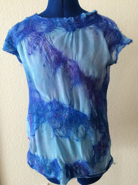 Felted summer top silk felted top summer blouse by FancyFancies