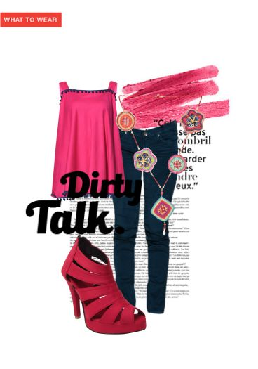 'Dirty Talk.' by me on Limeroad featuring Pink Tops, Mid Rise Blue Jeans with Fresh Arrivals Of B1g1 Multi Color Necklaces