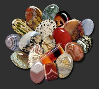 Agate is a variety of chalcedony formed from layers of quartz which usually show varicolored bands. It usually occurs as rounded nodules or veins.