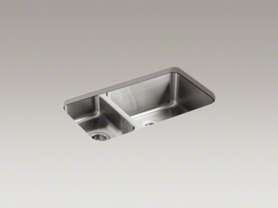 "Undertone® 31-1/2"" x 18"" x 9-1/2"" under-mount high/low double-bowl kitchen sink"