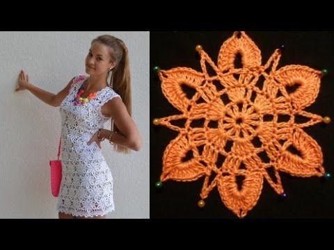 Мотив для платья крючком - YouTube