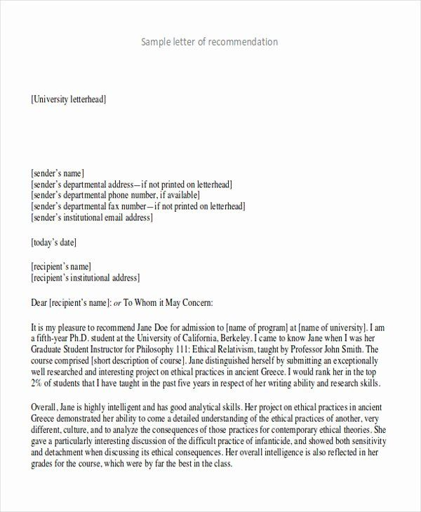 College Admission Recommendation Letter Template Beautiful 9