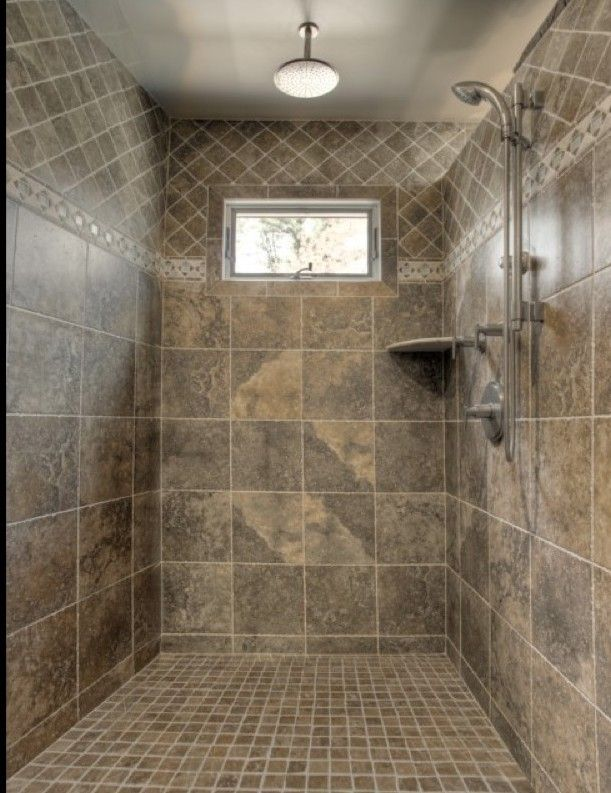 Awesome Shower Tile Ideas Make Perfect Bathroom Designs Always : Classic Shower  Tile Ideas Small Window Metalic Head Shower