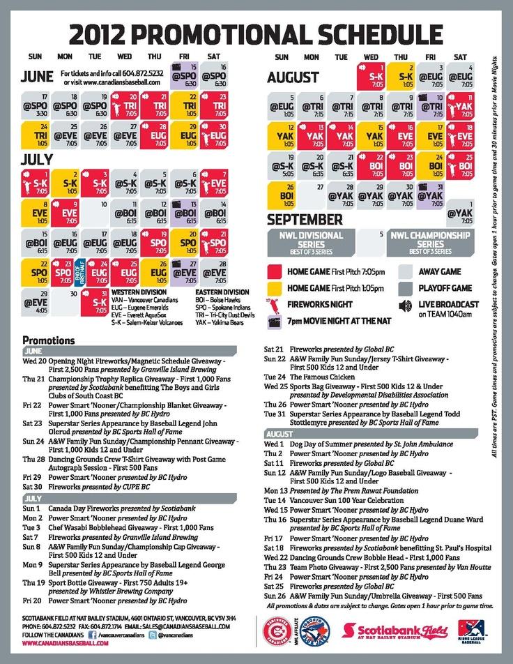 Vancouver Canadians 2012 Promotional Schedule