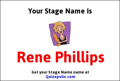 Find out what your Stage Name would be with our Stage Name Generator.