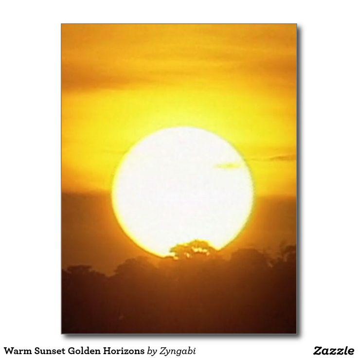 Warm Sunset Golden Horizons Postcard