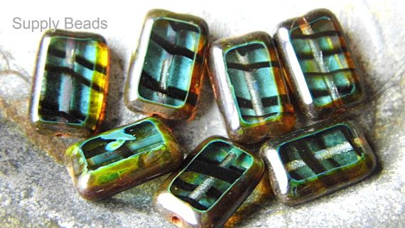 Teal Picasso Rectangle Beads Czech Beads Bead by SupplyBeads