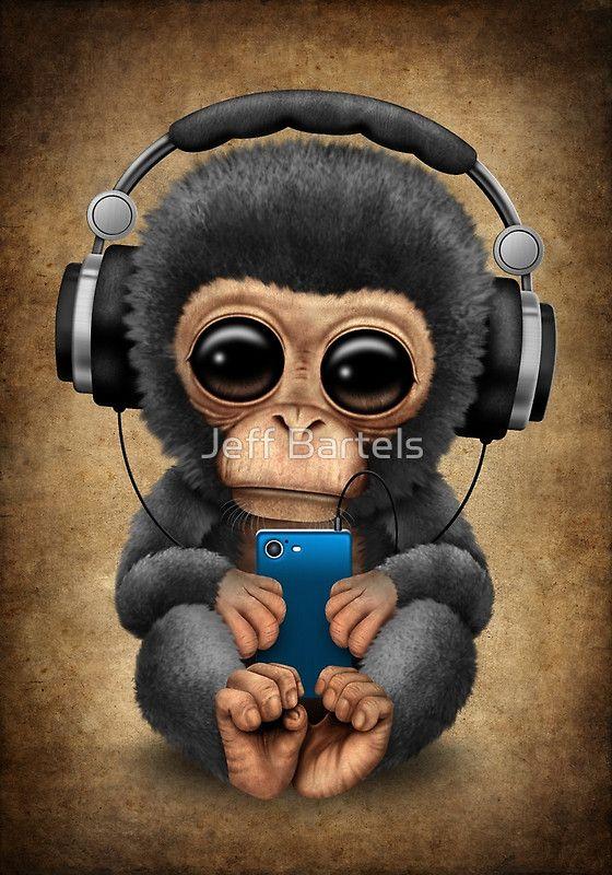 Cute Baby Bulldog Wallpaper Chimpanzee Dj With Headphones And Cell Phone Jeff