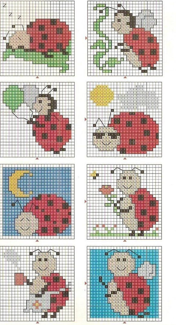 Lady bug cross stitch chart: