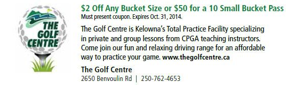 The golf centre in Kelowna, BC  - get your clubs out!