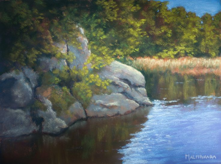 Rocky lake shore, soft pastel painting on sanded paper, 24 x 32 cm