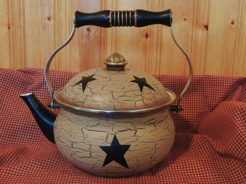 Primitive Decor HP Enamel Teapot Black Star Crackle Country Decor | eBay