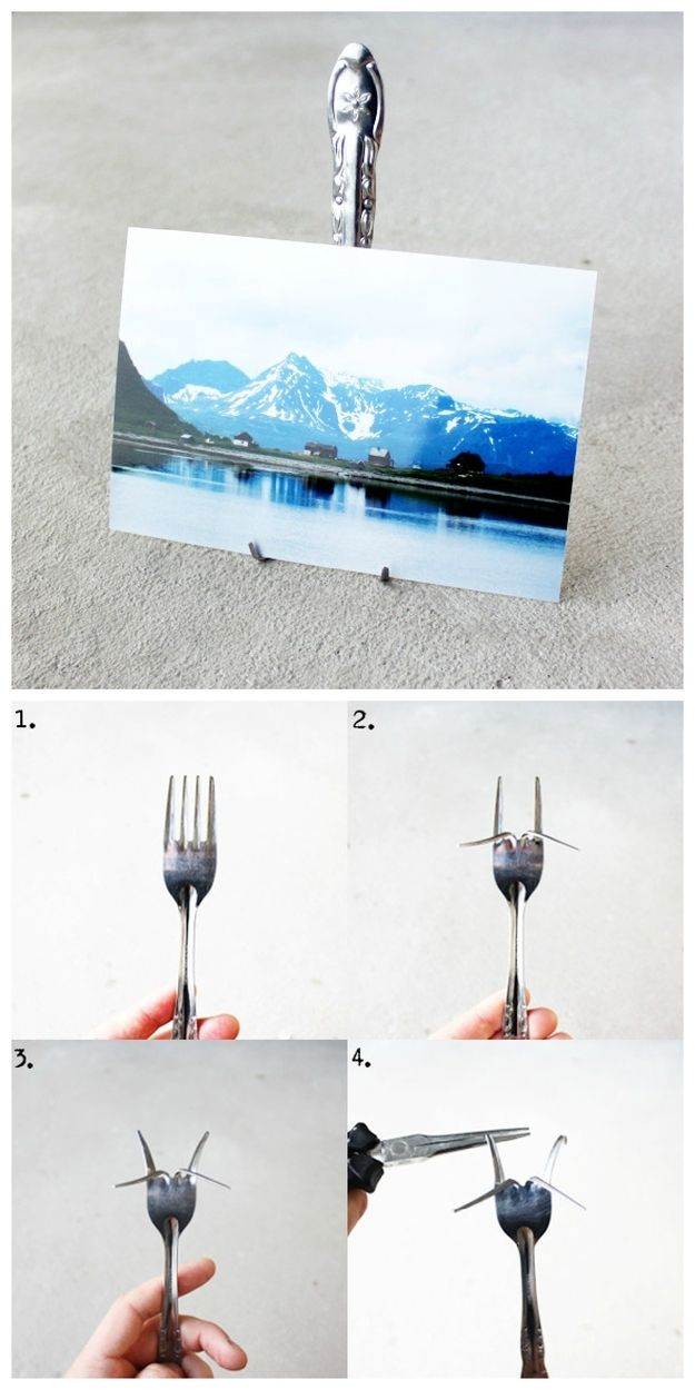 1. Photo Stand | 30 Quirky Ways To Use Your Utensils