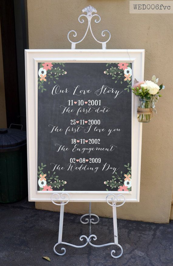 Our Love Story Wedding Sign / Rustic Chalkboard by MintImprint