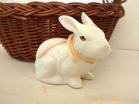 Enesco Rabbit Bunny. Ceramic Figurine White by WeeLambieVintage