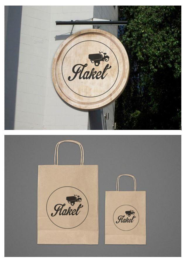 Forslag til Flaket logo på ulike objekter.
