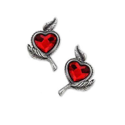 Love's Blossom, kristallen hart met bladeren stud oorbellen - Swarovski Valentijn - per paar - Alchemy Gothic
