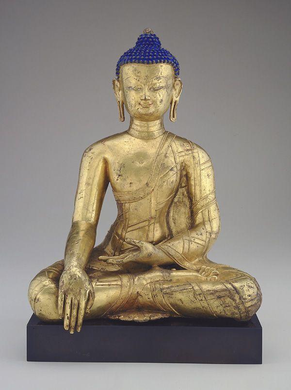 """Bhumisparsa mudra, """"calling the earth to witness"""". Gautama Buddha, 14th century, Tibet."""