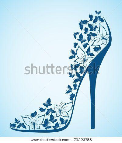 stock vector : High heel from beautiful butterflies