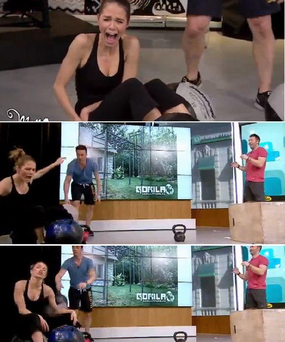 Le BUZZ - Mario Tessier lance un ballon d'entraînement de 16 livres sur Maripier Morin | HollywoodPQ.com