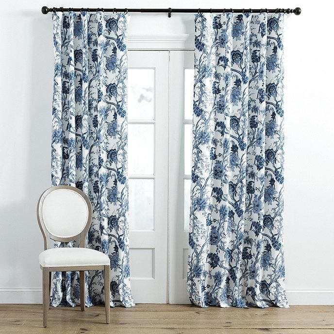 Jacobean Blue White Floral Window Panel Sheers Curtains Living Room Drapery Panels Ballard Designs Blue and white curtain panels
