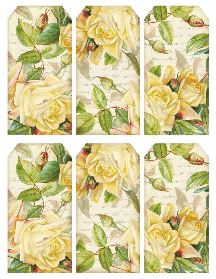 Printable sheet of vintage rose gift tags, hang tags, bookmarks, etc.