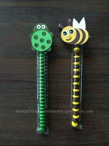 Candy Stick / Punch art made with Stampin' Up!, Owl Punch, In Color Cucumber Crunch, kleine Verpackung für Kinder, Eulenstanze, Grasgrün https://stempelnstanzenstaunen.wordpress.com/