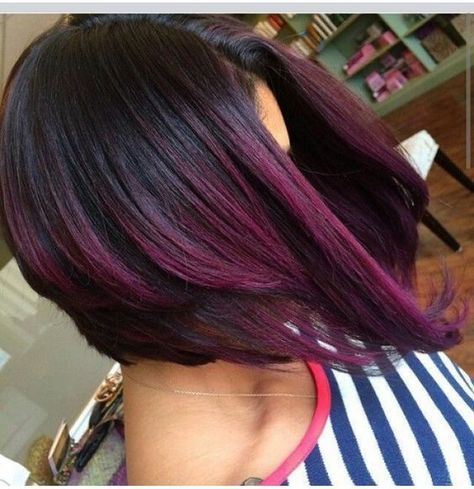 Dark Purple Hair Color for Short Hair