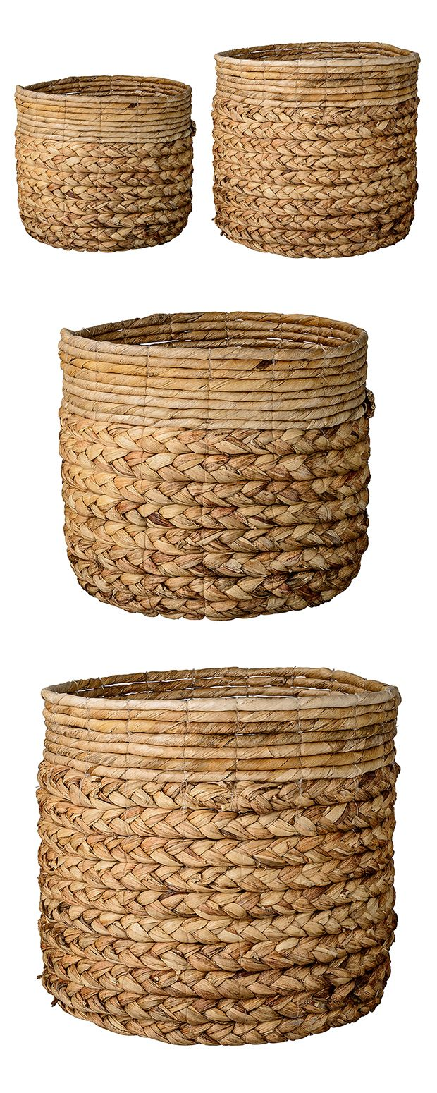 You can't go wrong with natural materials, which is why we can't get enough of these Sunderland Baskets. Water hyacinth and banana leaves, two gorgeous tropical mainstays, offer a durable structure as ...  Find the 2-Pc. Sunderland Baskets, as seen in the The Handmade Hotel in Yelapa Collection at http://dotandbo.com/collections/the-handmade-hotel-in-yelapa?utm_source=pinterest&utm_medium=organic&db_sku=118798