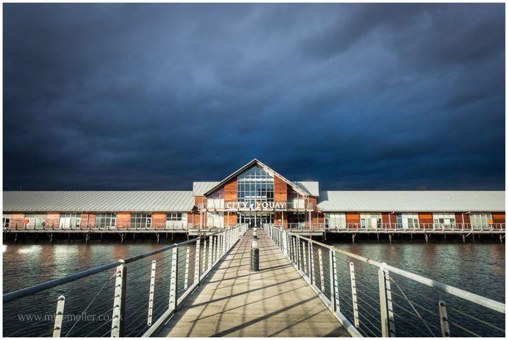 City Quay Pier in Dundee, SCOTLAND. Clouded Sky Over The City.