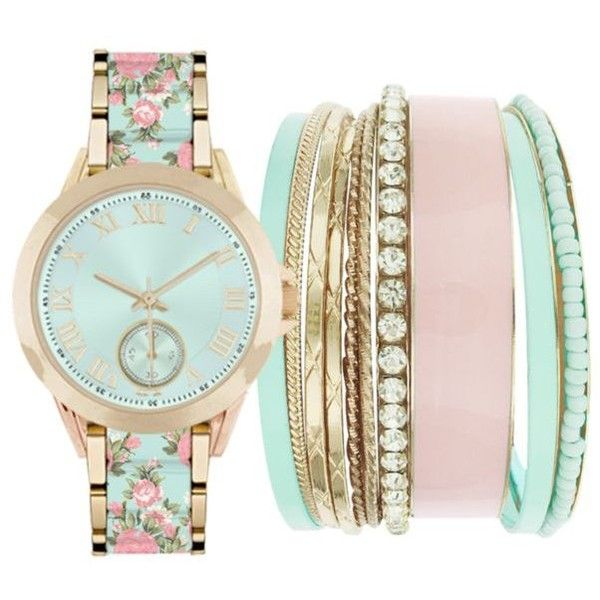 Jessica Carlyle Gold-Tone Womens Mint  Pink Floral Watch  Bangle Set -... ($35) ❤ liked on Polyvore featuring jewelry, watches, bracelets, bangle jewelry, hinged bangle, pink wrist watch, bangle watches and mint watches