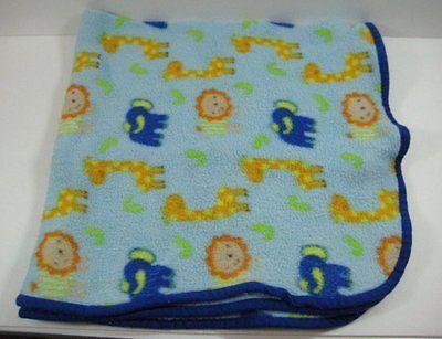Blue Giraffe Lion Elephant Baby Blanket Light Fleece
