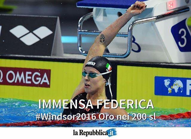 Grandissima @kikkafede88: Oro ai mondiali di nuoto in vasca corta a Windsor, Canada, nei 200 stile libero #mondiali #nuoto #Windsor2016 #repgram #repfoto