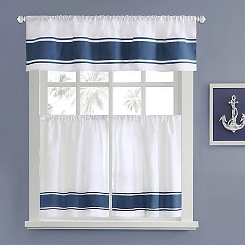 ... House Sailor Window Curtain Tier Pair. This Attractive Tier Pair  Features Nautical Inspired, Blue Bands. Perfect For A Kitchen, Bathroom And  More.