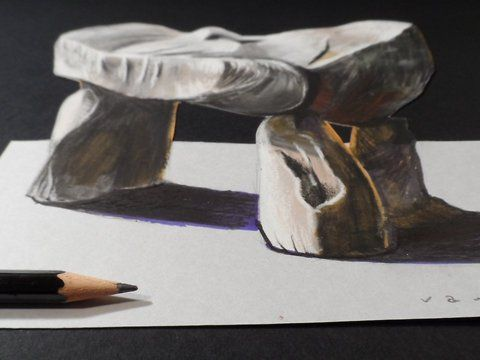 Drawing a 3 dimension Dolmen. These are old magic rocks. Trick Art on Paper. Mixed media.<br />Materials used: <br />Pastell paper: light gray.  <br />H graphit pencil (Derwent) <br />Markers: Letraset PROMARKER <br />Black and white charcoal pencil.<br />Prismacolor colored pencil.<br />White gel pen.<br />Grey Stabilo marker 0,4.<br />Black Faber - Castell pen 0,7. <br />Soft eraser.<br />Music: <br />March On - Ethan Meixsell,<br />(Youtube Music Audio Library)<br /><a…