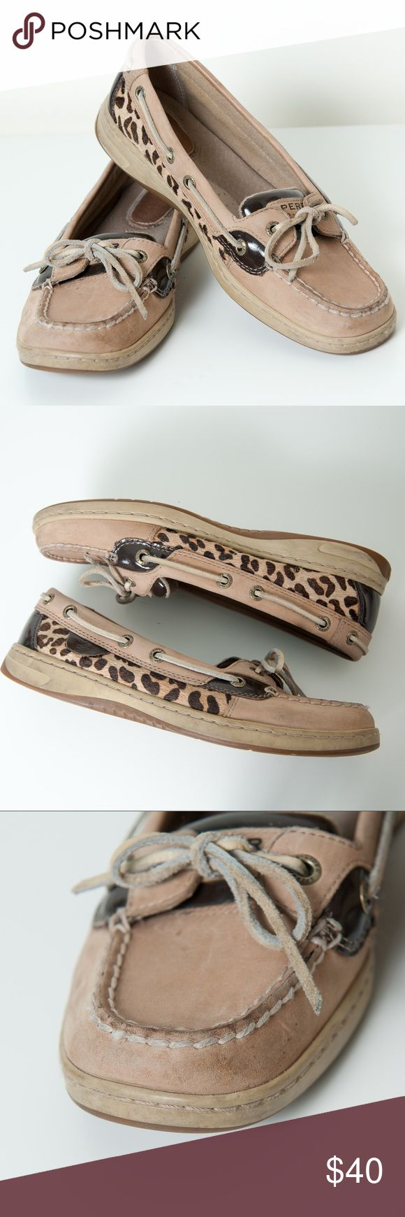 Sperry Angelfish Deck 7.5 Cheetah Print Tan Brown Sperry Top Sider Angelfish tan leather calf hair cheetah paneled with brown patent leather accents. Size 7.5. Shoes are preloved and do show signs of some wear. Sperry Top-Sider Shoes Flats & Loafers