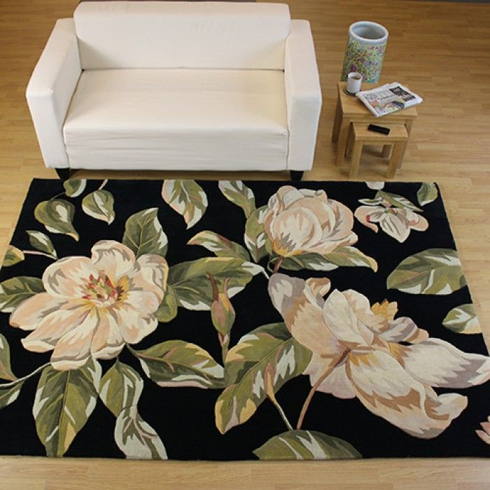 Midnight Black Rug With Spectacular Yellow Blossoms And Naturalistic Foliage The Ideal Centrepiece For Both