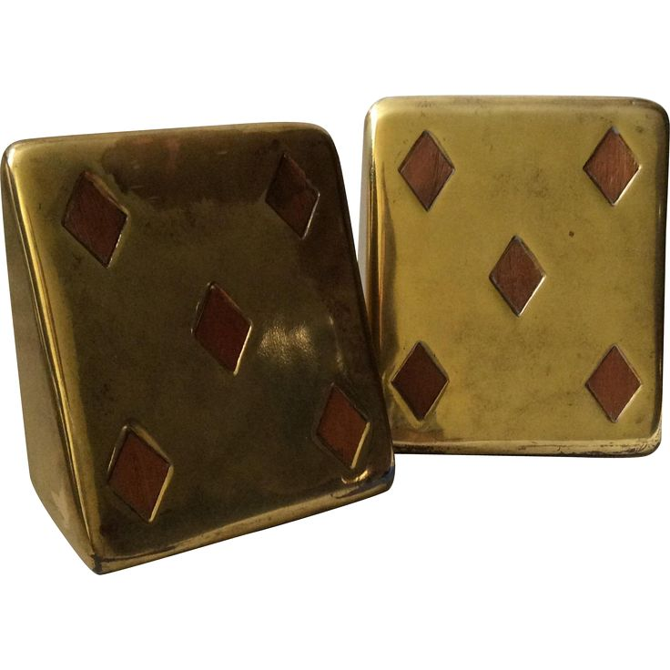 #VintageBeginsHere at www.rubylane.com---  Ben Seibel MidCentury Brass 'Five of Diamonds' Bookends with Inset Teak