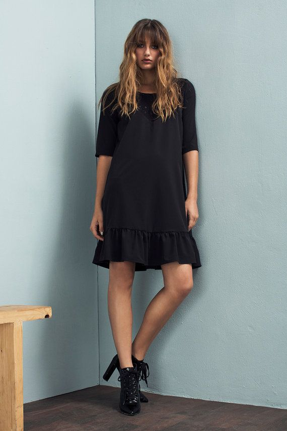 Black dress - Loose fit dress - Embroidered dress - Black lace dress - Short…