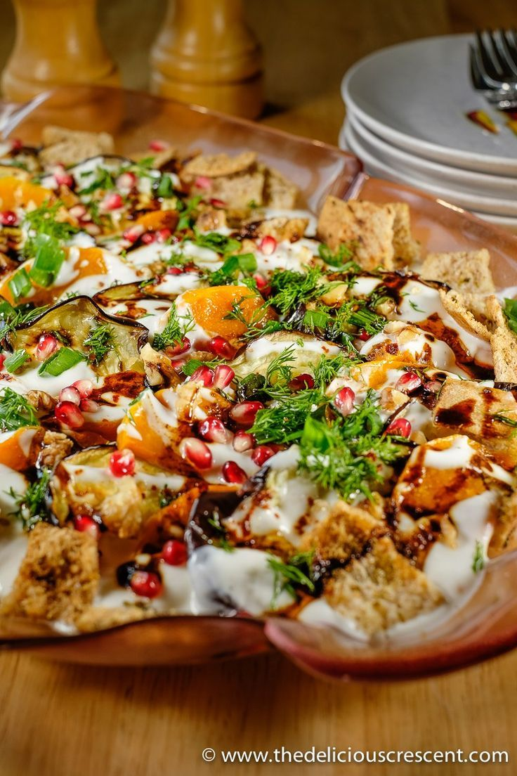 Eggplant Yogurt Salad With Pita Chips Fatteh